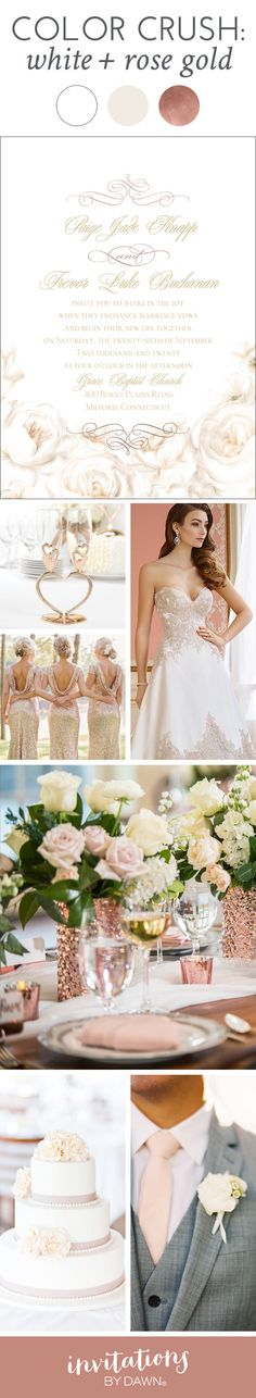 Close your eyes. Imagine your wedding day. What color do you see? White, right? Light, bright and dreamy. Now, pair it with shimmering rose gold and you have one beautiful palette. Here's what celebrity wedding planner, David Tutera, has to say about this striking color combo.
