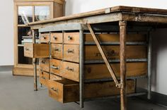 Industrial Work Table with Drawers by American on Paddle8. Paddle8 is a marketplace for collectors, presenting auctions of extraordinary art and objects.