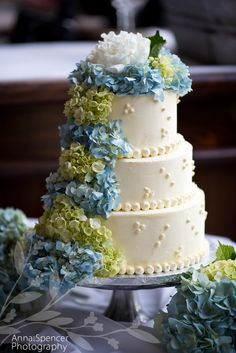 Anna and Spencer Photography, Katilady Catering, St. John US Virgin Islands Wedding. Wedding cake with blue and green hydrangea flowers.