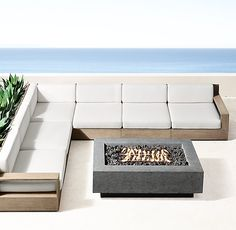 Marbella Teak Luxe Modular L-Sectional - Weathered Teak Contemporary Outdoor Furniture, Teak Outdoor Furniture, Outside Furniture, Garden Furniture, Outdoor Sofa, Outdoor Living, Modern Furniture, Rustic Bedroom Furniture, Couch Furniture