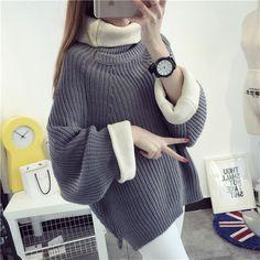 Korean Solid Color Knit Big Pullover Splicing Sweater