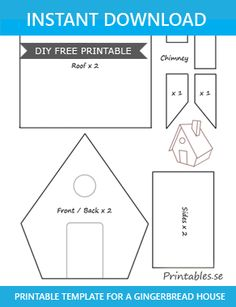 Free printables for Christmas: Template for gingerbread house 1 Gingerbread House Icing, Homemade Gingerbread House, Halloween Gingerbread House, Cardboard Gingerbread House, Gingerbread House Patterns, Cool Gingerbread Houses, Gingerbread House Template Printable, Christmas Templates, Templates Printable Free