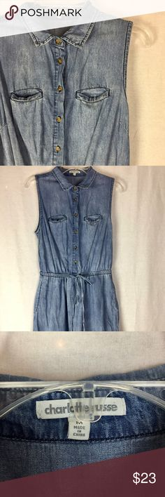 Denim Dress with Pockets This is a total win. Denim. Sleevless. Adjustable waist. and... POCKETS!  I have loved this dress. Charlotte Russe Dresses Mini