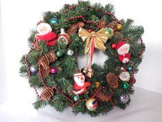 vintage Christmas wreath vintage Christmas decor by pennsvintage