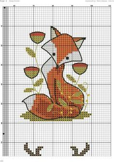 Cross stitch Fox; free chart.