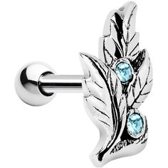 Silver 925 Aqua Gem Leaf Cartilage Tragus Earring