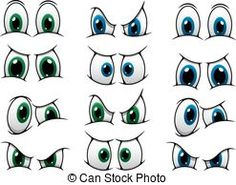 Set of cartoon eyes showing various expression. Set of cartoon eyes with blue and green irises showing various expressions from anger, through surprise to a frown. Cartoon Cartoon, Cute Cartoon Eyes, Cartoon Faces Expressions, Eye Expressions, Scarecrow Face, Realistic Eye Drawing, Drawing Eyes, Eye Pictures, Images Photos