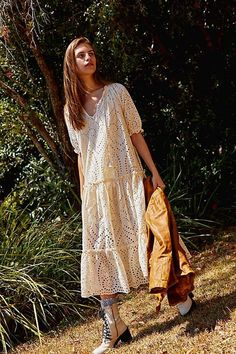 Fairytale Anglaise Gown by Spell and the Gypsy Collective at Free People, White, XS Boho Fashion Over 40, Plus Size Fashion For Women, Autumn Fashion, Free Clothes, Clothes For Women, Moda Boho, Rock, Free People Dress, Fashion Outfits