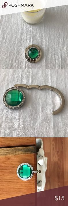 Green Rhinestone purse hook! So cute!  I use these everywhere I go.  Has rubber grip on bottom to prevent slipping regardless of purse weight.  See other listings for more colors!  🤗 Accessories