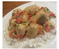 Chicken Meatballs with Thai Green Curry Sauce