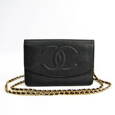9e3180f955a2 Chanel A05281 Women's Caviar Leather Chain/Shoulder Wallet Black