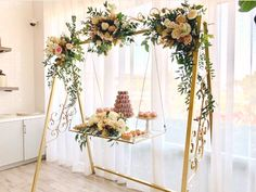Cake Swing Wedding & Party Rentals and Sales San Diego, CA is part of Wedding decor elegant - The Cake Swing is an incredibly original to display your wedding cake Available in brushed gold, silver, antique brass and black Wedding Bouquets, Wedding Cakes, Wedding Flowers, Wedding Dresses, Anemone Wedding, Lilac Wedding, Burgundy Wedding, Mermaid Wedding, Floral Wedding