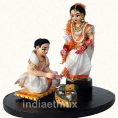 Wedding Dolls Toe Ring Scene : Indian ethnic Wedding Dolls Toe Ring Scene is available online in USA at www.indiaethnix.com and will be shipped to your Home | India Ethnix