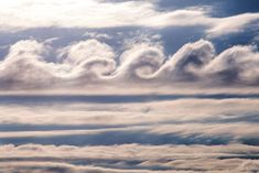 Cirrus Kelvin-Helmholtz clouds occur on the rarest of occasions and as a result they have yet to be widely photographed. They're caused by shearing winds up at cloud level which move at varying speeds. When higher winds howl faster than the lower winds this causes the trough of the clouds to bend, pushing them over into a distance wave-like formations. These distinctive clouds only stick around for a few short minutes before vanishing.