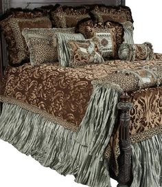 """The Aristocat collection combines a yummy milk chocolate colored cut velvet with a fun leopard print, soothing spa green crushed silks, and a rich faux mink. The detailing on each piece - from the """"co"""