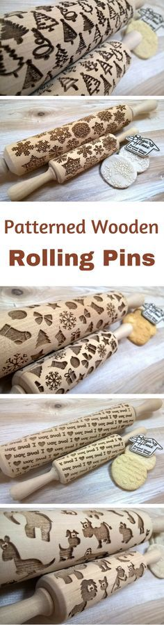 """Gifts under $15 Wooden Rolling Pin Laser Cut """"New Year Netting Pattern"""" Merry Christmas, Snowflakes, Gift, Christmas sock, Stars NNT #kitchens #kitchenware #ad #giftideas #GIFTIDEA #gift #christmasgifts #giftsunder25 wooden rolling pins 