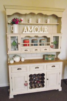 Welsh dresser - just need to paint, stain and change handles Distressed Furniture Painting, Painted Furniture, Diy Furniture, Dresser Inspiration, Dresser Ideas, Dresser Makeovers, Painted China Cabinets, Cocina Diy, Welsh Dresser