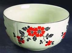 Hall China Red Poppy Bowl: This is the piece that started my quest to find the Hall's Red Poppy. My grandmother would serve either potato salad or macaroni salad at all the family get-togethers. Hall Pottery, Pottery Art, Kitchen Cupboards, Kitchen Stuff, Weller Pottery, Vintage Bowls, Antique Glassware, Vintage Pottery, Red Poppies