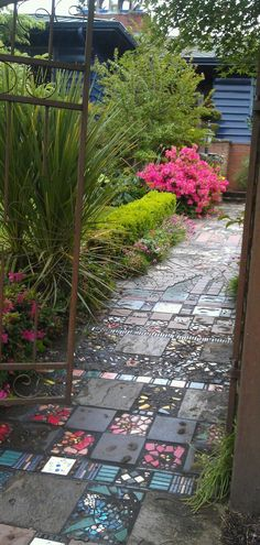 Recycled tiles used to make a quirky garden path