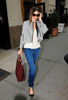 Miranda Kerr Ballet flats and color jeans