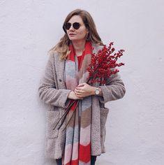 Teddymantel mit Schal von Opus Streetstyle Herbst Outfit mit Illex