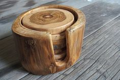 Teak wood coasters with the holder rustic look by GiftGoGreen