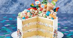 Get the party started with our magnificent fairy bread-inspired popcorn cake.