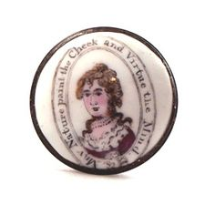 Bilston Enamel Patch Box, ca. 1780, reads 'May nature paint the cheek and virture the mind'