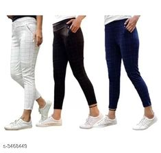 Jeggings Fashionable Lycra Women's Jeggings (Pack Of 3) Fabric: Lycra Size: Up To 28 in To 34 in ( Free Size ) Length: Up To 38 in Type: Stitched Description: It Has 3 Pieces Of Women's Jeggings Pattern:  Checkered Country of Origin: India Sizes Available: 28, 30, 32, 34, 36 *Proof of Safe Delivery! Click to know on Safety Standards of Delivery Partners- https://ltl.sh/y_nZrAV3  Catalog Rating: ★4 (5278)  Catalog Name: Athena Fashionable Lycra Women'S Jeggings Combo Vol 18 CatalogID_482677 C79-SC1033 Code: 685-3468449-