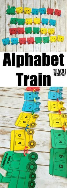 Build a cute alphabet train with your preschool or kindergartners! The alphabet train is a great way to practice letter sounds and recognition! Train Preschool Activities, Transportation Activities, Preschool Printables, Preschool Learning, Kindergarten Activities, Preschool Crafts, Learning Activities, Teaching Ideas, Teaching The Alphabet