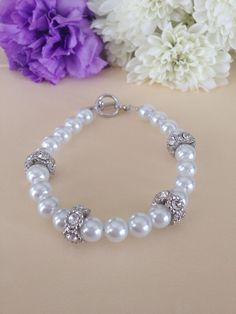 Elegant & Sophisticated Pearl Beaded Bracelet With Rhinestone Accents - White - Silver - Wedding - Bridesmaid