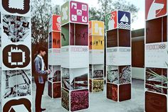 Radiant Discord: Lance Wyman on the Olympic Design and the Tlatelolco Massacre Signage Display, Event Signage, Mexico 68, Mexico City, Environmental Graphic Design, Environmental Graphics, Totems, Lance Wyman, Information Kiosk