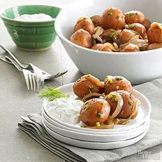 Party Potatoes with Creamy Aioli Dipping these delicious potatoes into a creamy dilled aioli is the best party trick around. Be sure to finely chop the vegetables so they're evenly distributed in the sauce.