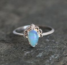 Opal Engagement Ring Opal Lace ring Opal Diamond Ring Gold