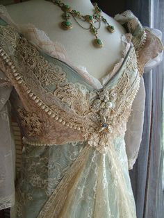 Vintage pastel and lace dress bridal gown wedding dress. Romantic style