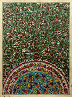 Madhubani painting, 'Peaceful Coexistence' by NOVICA Pichwai Paintings, Indian Art Paintings, Krishna Painting, Madhubani Painting, Indian Traditional Paintings, Traditional Art, Indian Drawing, Painting Competition, Madhubani Art