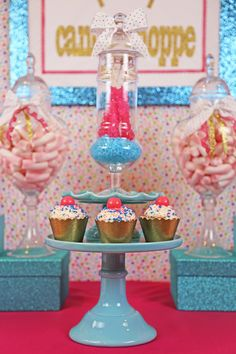 Sweet 16 Candy Shoppe themed girls birthday party idea. Details and more photos at paarteez.com.