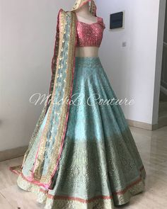 Colour wave, bridal lehenga by Mischb Couture Indian Bridal Outfits, Indian Bridal Lehenga, Indian Designer Outfits, Pakistani Dresses Casual, Indian Gowns Dresses, Lehnga Dress, Banarasi Lehenga, Sabyasachi, Bridal Lehenga Collection