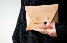 Natural Leather Clutch by JacksRedBarn on Etsy, $85.00