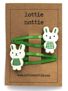 Rabbits on Green Hair Clips £3.50