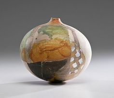 Rick Dillingham Globe 	      	                  Rick Dillingham  (1952-1994, USA) Globe  1989 Raku; ht. 9, dia 10 in. Dillingham was known as much for his contemporary ceramics as for his scholarship of the pottery traditions of the North American Indian and published classic texts such as Acoma and Laguna Pottery and Fourteen Families in Pueblo Pottery. This 'shard' vessel grew out of his restoration w