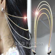 Fab Woman Stud Rivet Spike Ear Cuff Hair Back Chain Tassels Fringe Earring Goth