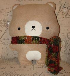 Handmade Stuffed Teddy Bear with Autumn Colors Scarf