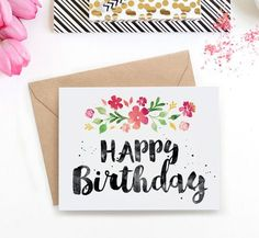Surprise her with this beautiful watercolour birthday card. Download the printable card and print as many times as you like!