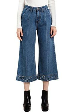 HaoDuoYi Ring Wide Leg Pants Jeans d2546ae02d41d