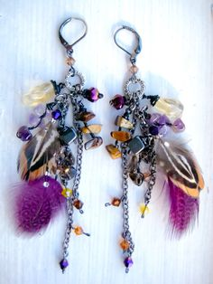 Jewelry. Feather Duster Earrings Charm Dangle Earrings Stone and by deenidesigns, $40.25