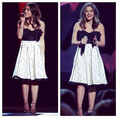 Lucy Hale looks amazing in this black and white dress.   Pretty Little Liars