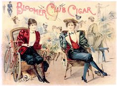"""""""Bloomer Club"""" Cigar Box Cover An 1890's satiric lid for a cigar box, featuring women in the just-barely-acceptable new styles of skirtless knickerbockers (Bloomers) at a swanky social club. Of course, late-Victorian gender mores were still very rigid in many aspects of society, especially in formal settings, so this was an absurd satirical proposition. The acceptable settings for bloomers (at least for the more progressively-minded - many people still felt scandalized by them in general)"""