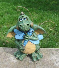 Dragon Statue  Dragon Sculpture  Garden Decor  by TeresasCeramics