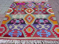 """VINTAGE Turkish Kilim Rug Carpet Wool  33"""" X 43,3"""" via Etsy"""